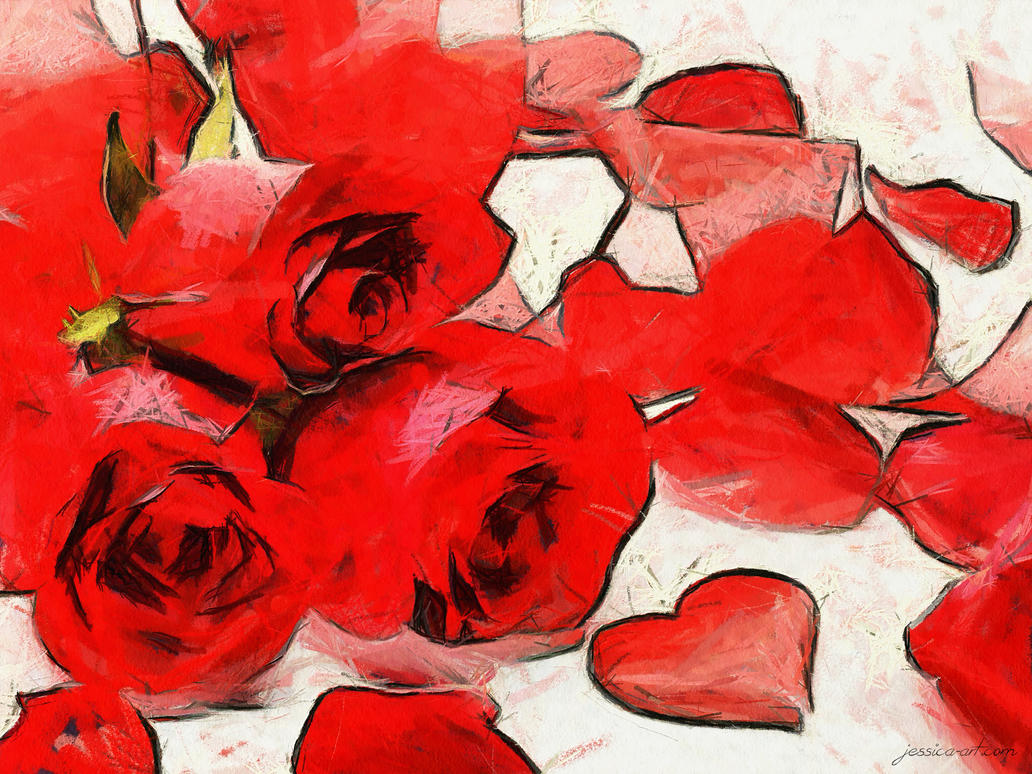 Valentine Flowers by Jessica-Art