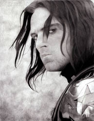 The Winter Soldier - Charcoal Drawing by AngelynnB