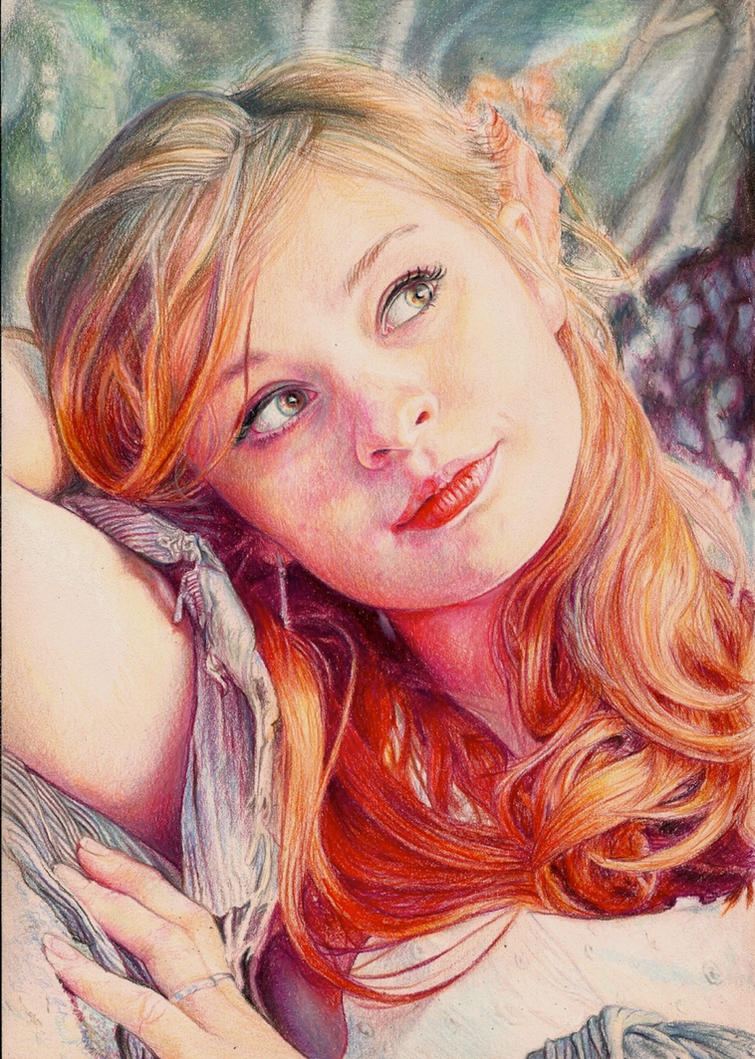 Yulia  Colour Pencil Portrait by Pevansy