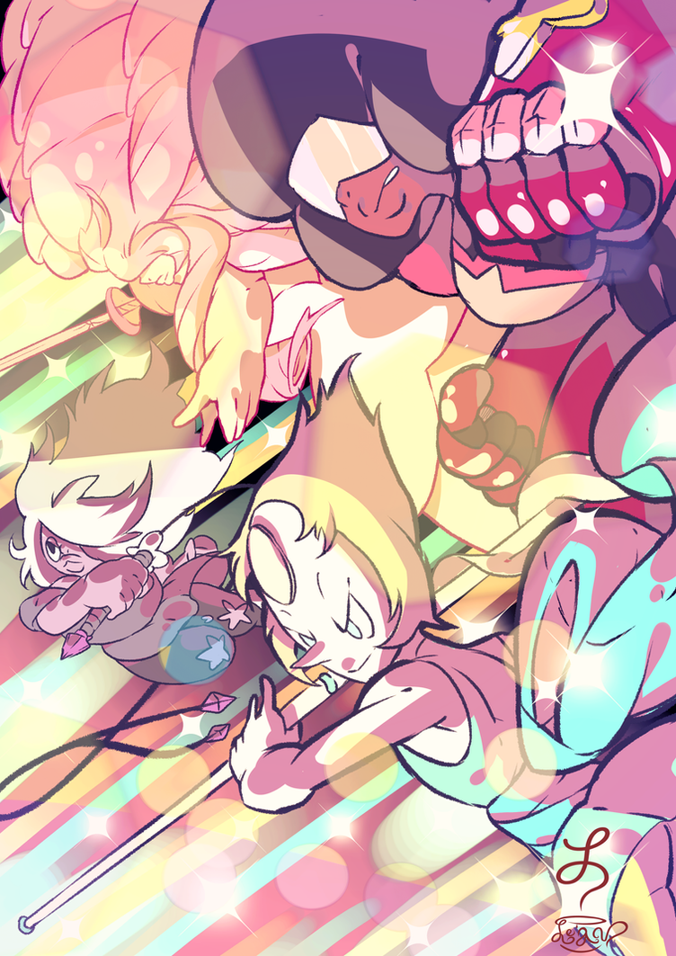 Crystal gems, fight!! by Le-av