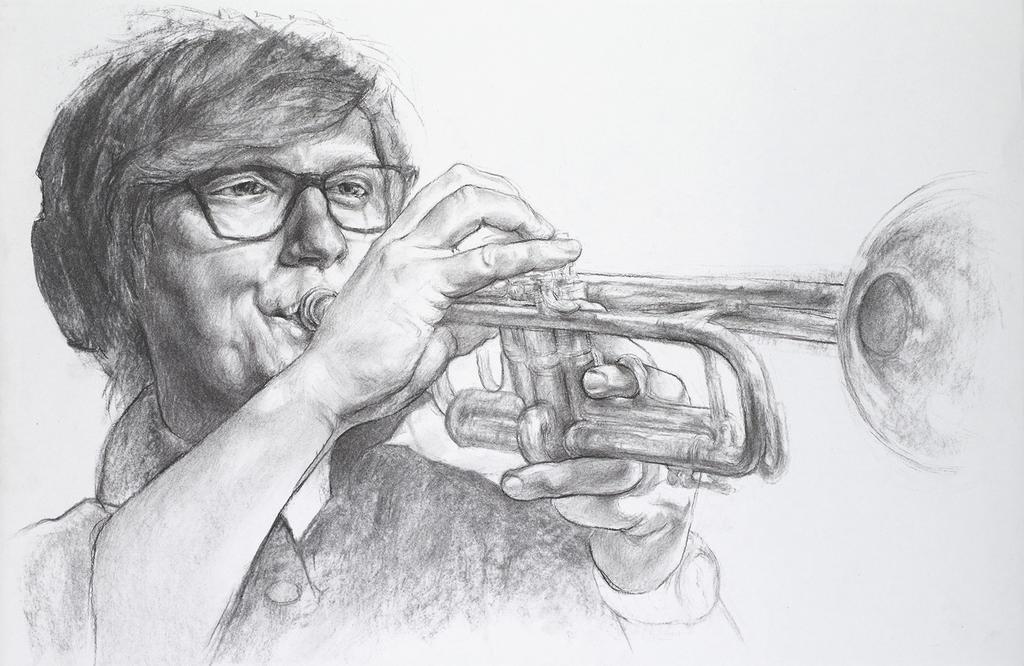Charcoal portrait - Mike Olson by Xelael