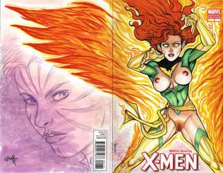 Erotic Earth Phoenix - X-Men no.1 Sketch Cover by TCatt