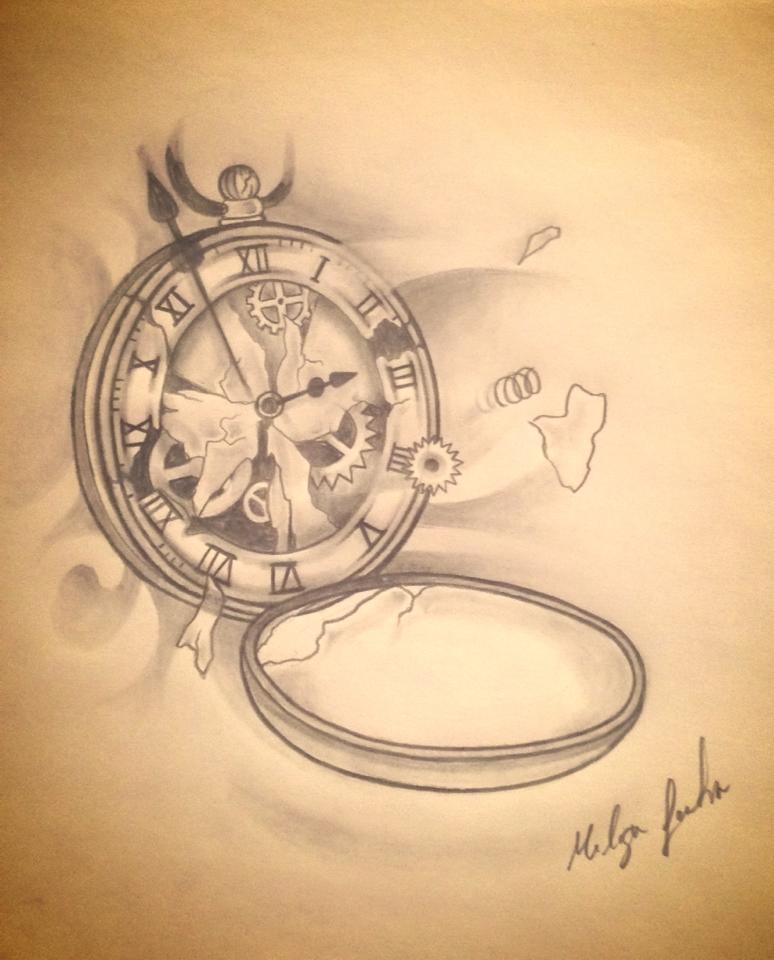 broken clock by melisafortintattoo on deviantart. Black Bedroom Furniture Sets. Home Design Ideas