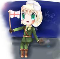 APH - Chibi Switzerland in England's uniform XD by AquaPatamon