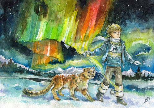 boy and polar lights