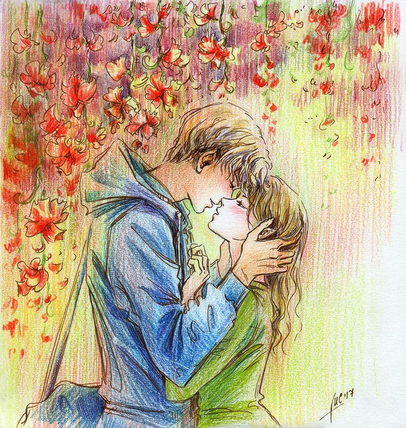 Aidan and Mayrika_kiss by Maria-Sandary