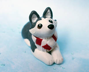 Winter Husky dog sculpture by SculptedPups