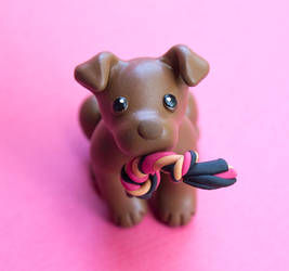 Brown Pittie with toy by SculptedPups