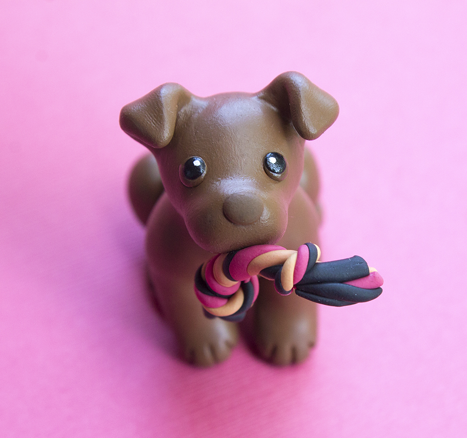 Brown Pittie with toy by SculpyPups