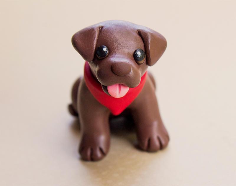 Brownie lab dog sculpture by SculpyPups