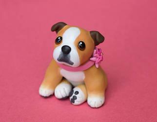 Lola the bulldog dog sculpture by SculptedPups