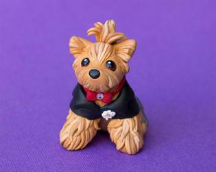 Wedding yorkie dog sculpture by SculptedPups