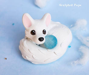 Arctic Fox with an Ice Sphere by SculptedPups