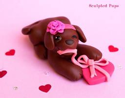 Valentine's Day Chocolate Lab puppy by SculptedPups