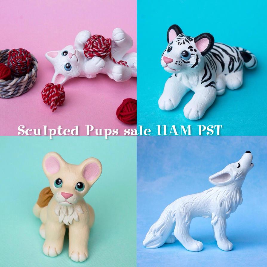 Sculpted Pups etsy sale theme: white by SculptedPups