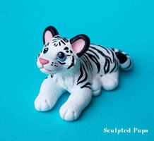 White tiger cub sculpture by SculptedPups