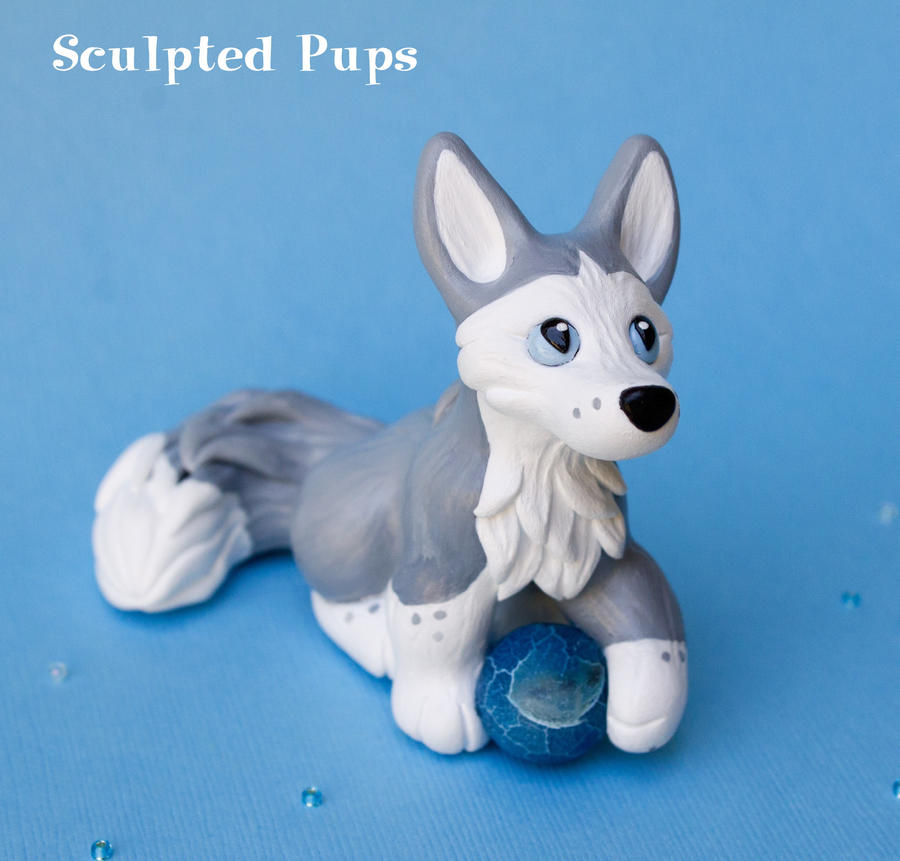 Gray Fox with Water Sphere by SculptedPups