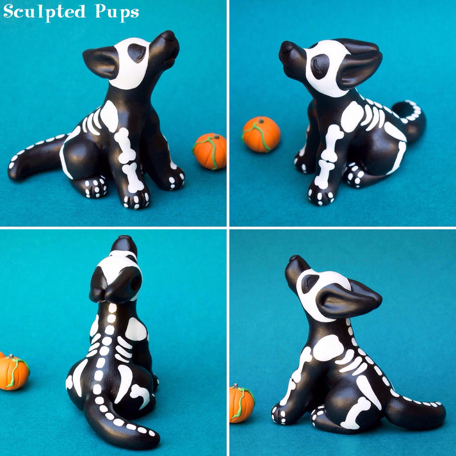 Skeleton wolf pup sculpture by SculptedPups