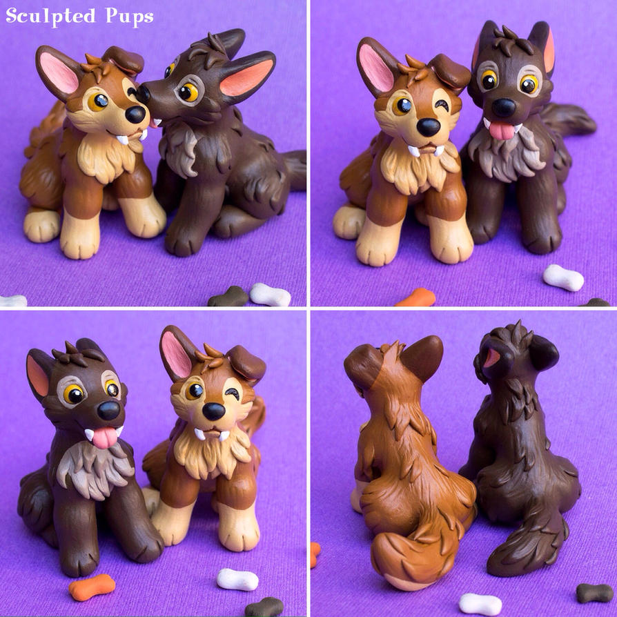 Werewolf pups polymer clay sculpture by SculptedPups