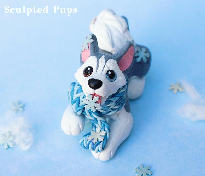 Husky catching snowflakes sculpture by SculptedPups
