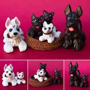 Sculptober day 1: family! Scottish terrier family!