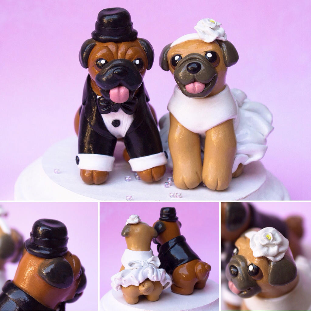 Pug Wedding Cake Topper By Sculptedpups On Deviantart