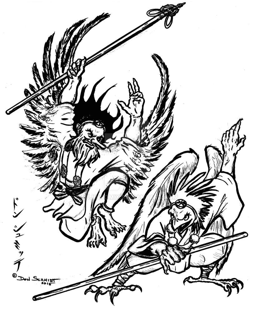 Tengu Battle - inked by bujinkomix
