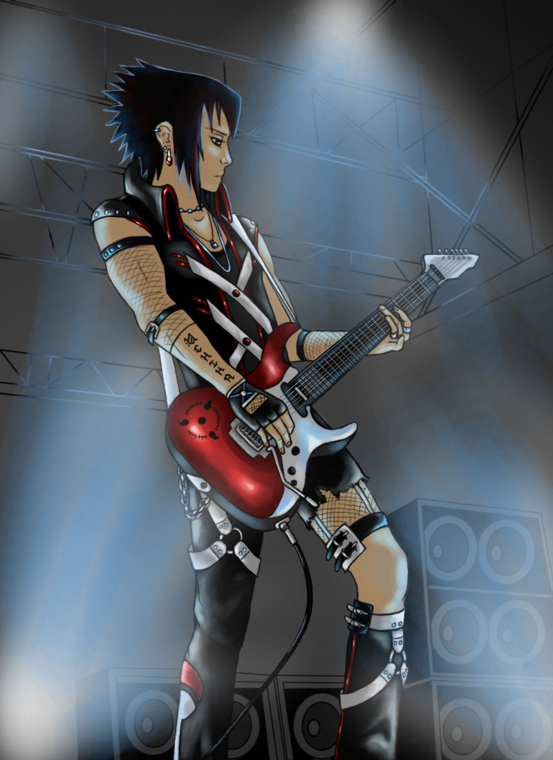 Rock Star Sasuke by SilvrRainFell