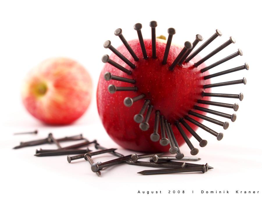 nailed apple