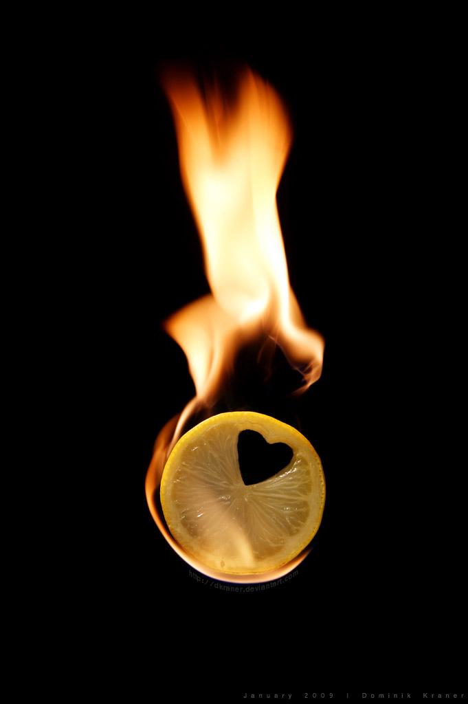 lemon in fire