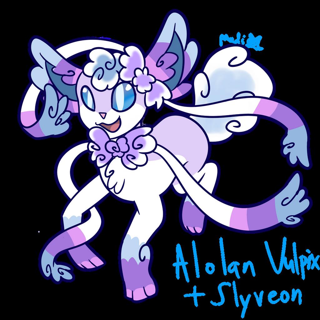 Alolan Vuplix + Slyveon Fusion by MyDoggyCatMadi