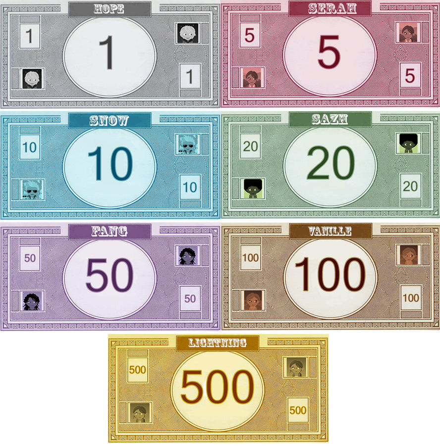 Monopoly ff13 money by bellatytus on deviantart for Monopoly money templates