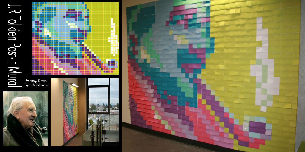 J.R. Tolkien: Post-Its Mural by darkwater-pirate