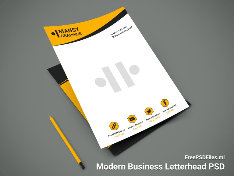 Modern Business Letterhead PSD By GraphicDesign00