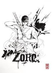 Roronoa Zoro - One Piece - black and white by KuromoriRei