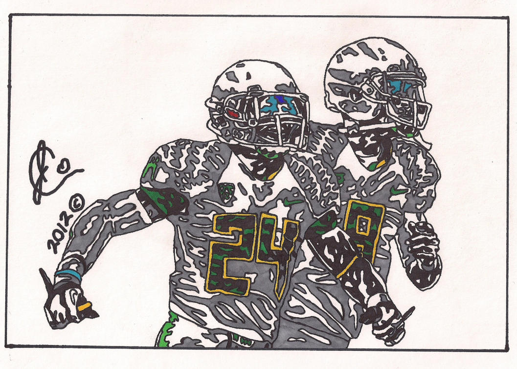 kenjon barner and marcus mariota ink illustration by jcolley79