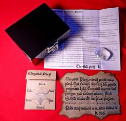 Wooden box clear quartz Galactic Esperanto by Fabrykanina