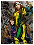 Gambit and Rogue by mspawa