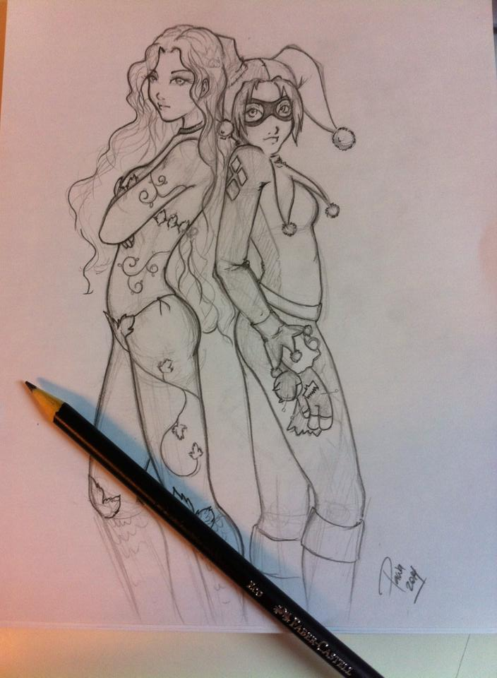 SKETCH: Poison Ivy and Harley by mspawa