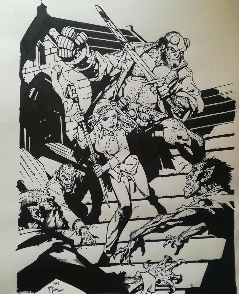 Hellboy and Buffy inks by mspawa