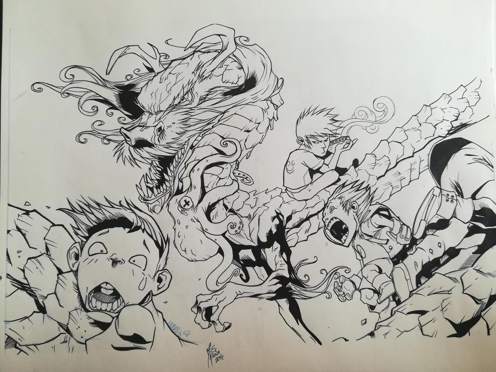 Chinese dragon inks by mspawa