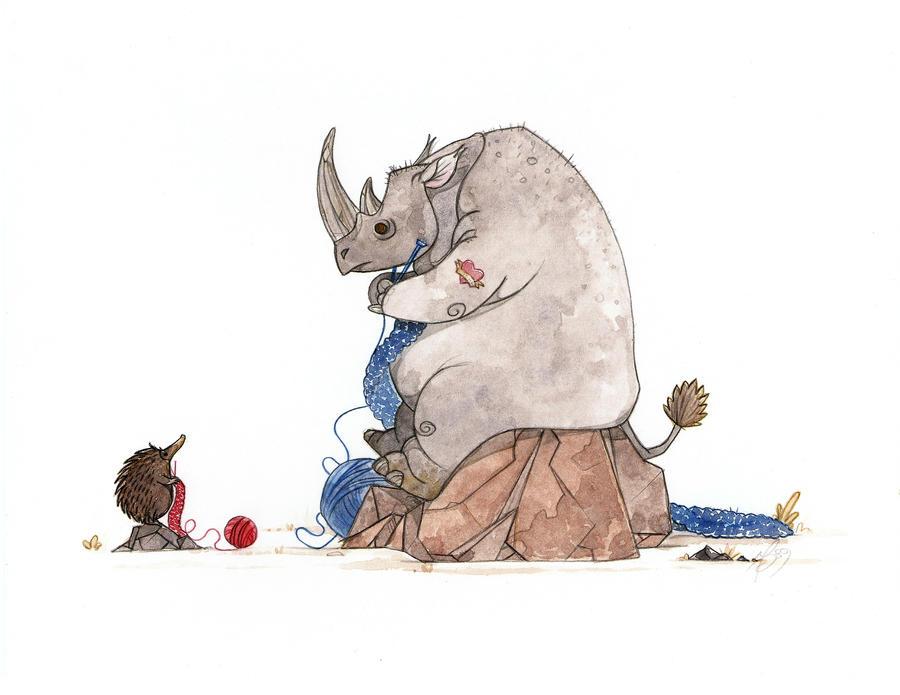 Rhino teaching Echidna to knit by morganobrienart
