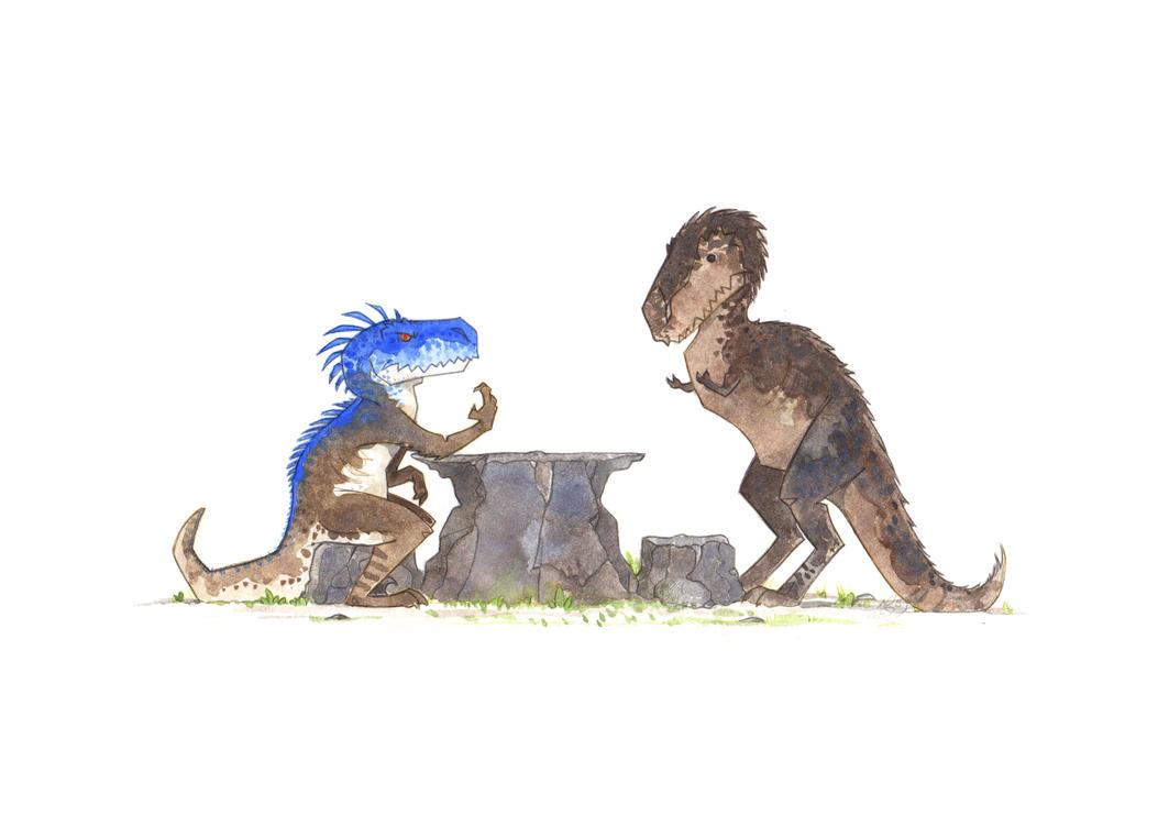 Arm Wrestle Raptor vs Raptorex by morganobrienart