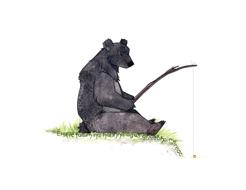 Bear Fishing by morganobrienart