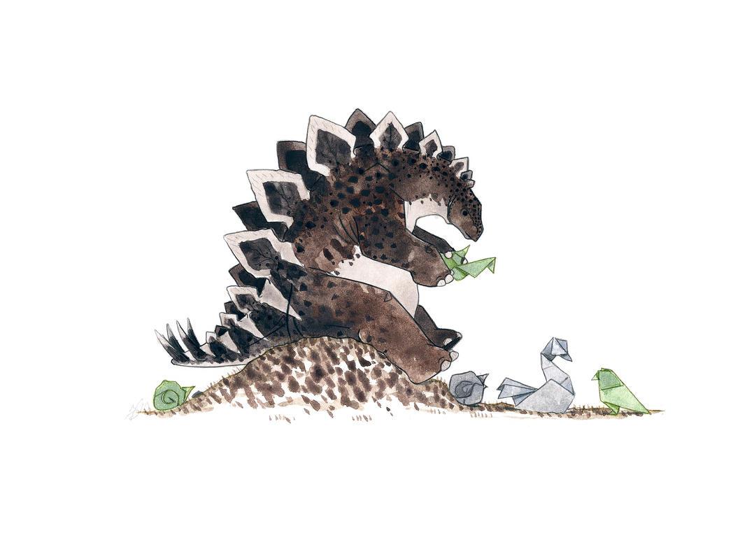 Stegosaurus Origami by morganobrienart