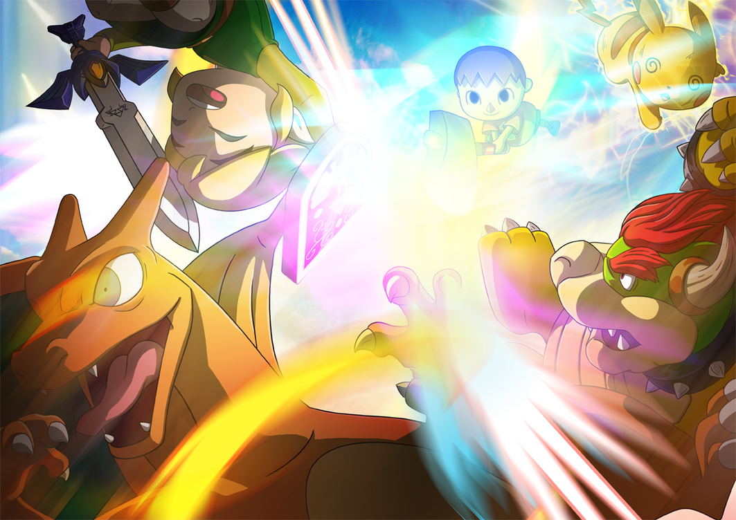Super Smash Bros. - Villager Kicking A$$ by morganobrienart