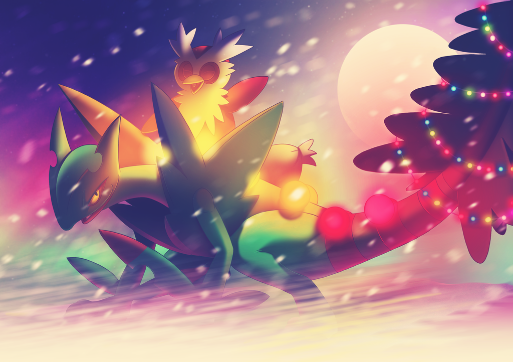 Pokemon Christmas Delivery - Sceptile and Delibird by morganobrienart