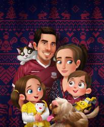 Family Christmas Portrait 2016 by morganobrienart