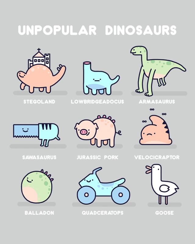 Unpopular dinosaurs by randyotter