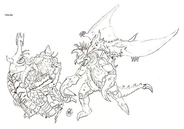 Godzilla Vs Anguirus Rodan And King Caesar Rodan Coloring Pages C...